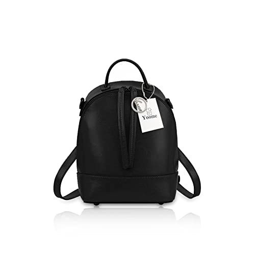 cedc41002b0e Yoome Mini Backpack Fashion Leather Purse Multi-way Zipper Bag Women  Shoulder Bag Handbag Black