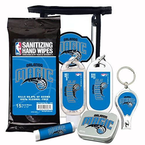 - Orlando Magic 6-Piece Fan Kit with Decorative Mint Tin, Nail Clippers, Hand Sanitizer, SPF 15 Lip Balm, Hand Lotion, Sanitizer Wipes. NBA Gifts for Men and Women By Worthy