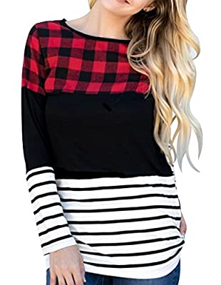 Miskely Women's Color Block Plaid Tunic Tops Long Sleeve Casual Striped Blouse Tee Shirt