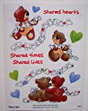 Suzy's Zoo Shared Hearts Teddy Bear Valentine Sticker Sheet 6 inches by 4.5 inches
