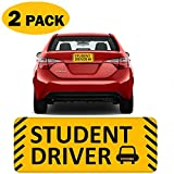 """TOTOMO #SDM06 (Set of 2) Student Driver Magnet 10""""x4"""" Highly Reflective Premium Quality Car Safety Caution Sign for New Student Drivers"""