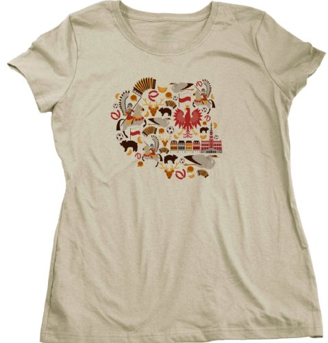 POLAND MAP Ladies Cut T-shirt Stylized Map of Polska / Polish Symbol Tee