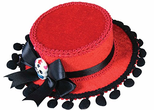 [Day of the Dead Red Gaucho Mini Hat with Pom Poms] (Womens Day Of The Dead Costume)