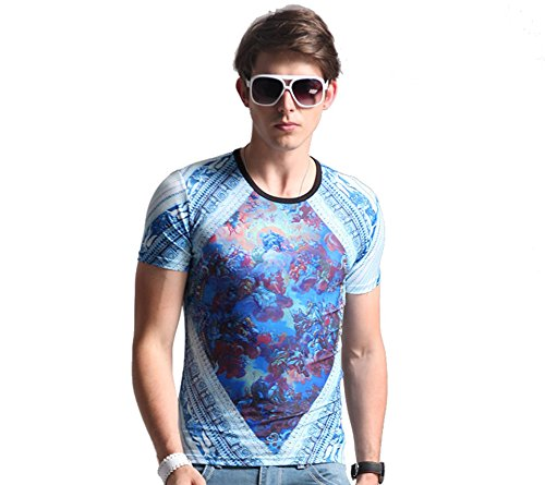 Honesy Mens Fashion Tees Biblical Story Graphic Slim Casual T-shirt Lake Blue XXL