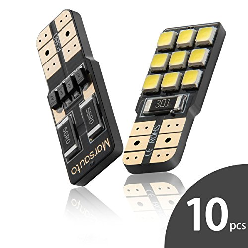 b Canbus-Ready, Interior Car Lights T10 168 Polarity Free Super Bright 9smd 6000k 12V Xenon White 10-Pack ()