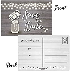 "50 Rustic Theme Save The Date Postcards - 4"" x 6"" Postcards - Wedding, Baby Shower, Birthdays, Celebration Announcements (Rustic Jar)"