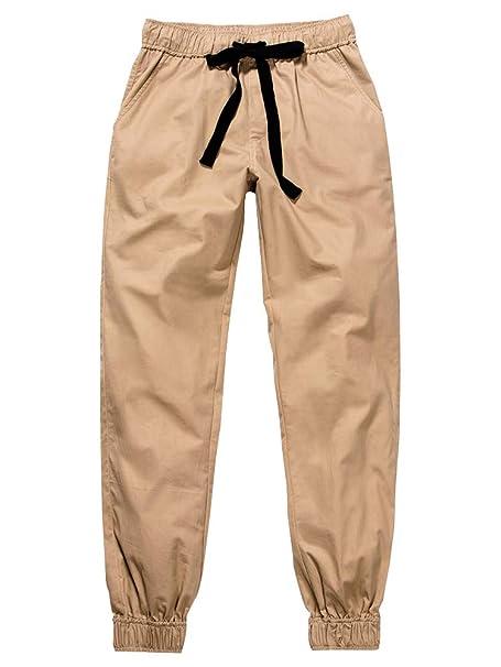 Amazon.com: Pantalones de chino con cordón para mujer ...