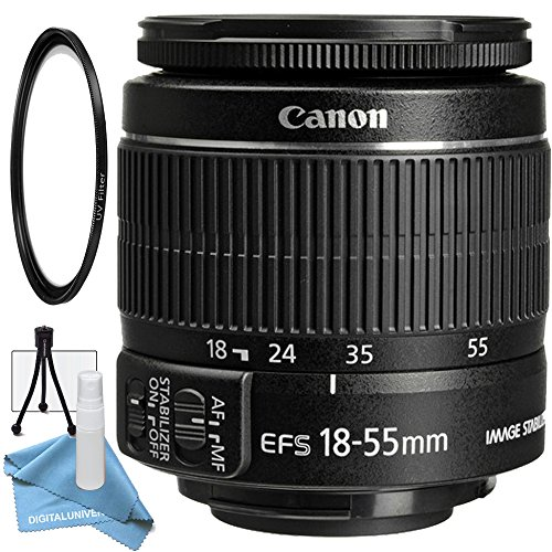 Canon EF-S 18-55mm f/3.5-5.6 IS II Lens with UV Filter, Table Top Tripod, Lens Cleaning Kit and LCD Screen Protector by DigitalUniverse