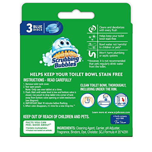 Scrubbing Bubbles Continuous Clean Drop-Ins Toilet Cleaner Tablet, Repels Tough Hard Water and Limescale Stains, Blue Discs, 3ct, 4.23 oz