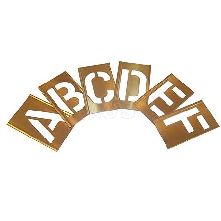 """Stencils Set of Brass Interlocking Stencils 1/"""" 25mm High Letters A Z"""
