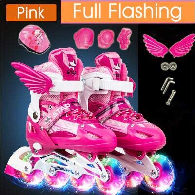 LIKU Adjustable Inline Skates Featuring Illuminating Wheels and All Wheels Light up, Beginner Set for Girls and Boys Included Helmet, Knee, Wrist and Elbow Pads. : Sports & Outdoors