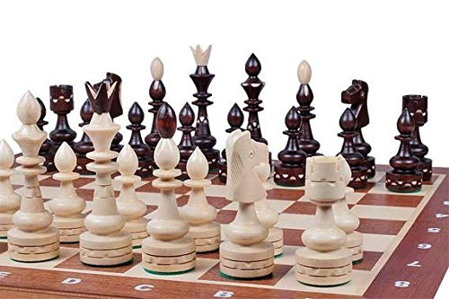 Madon Wooden Chess Set Indian Inlaid. Hand Carved from Hornbeam Wood, Luxury Chess boardgame ()
