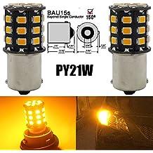 AMAZENAR 2-Pack 1056 BAU15S 7507 12496 Car Turn Signal Lights Bulbs - 12V-24V Extremely Bright Amber/Yellow 2835 33 SMD LED Light Bulb - Replacement for Tail Blinker LED Bulb Light