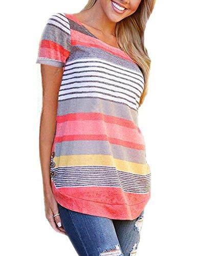 (YOUCOO Women's Cotton Knitted Short Sleeve Lightweight Tunic Sweatshirt Tops,Short Orange,XX-Large)