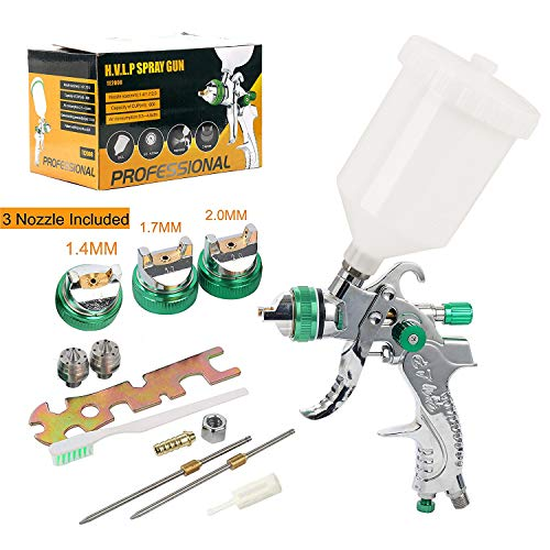 YaeTek HVLP Gravity Feed Air Spray Gun 3 Nozzles 1.4mm 1.7mm 2.0mm, 600cc Cup (Best Spray Gun For Gelcoat)