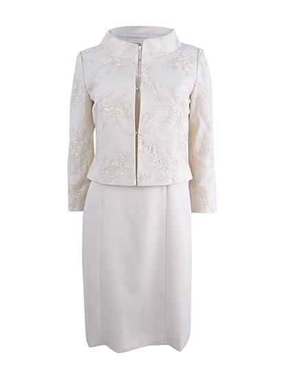 fae4334d1cf8 Tahari ASL Women's Lace Dress Suit (4, Bridal Ivory) at Amazon ...