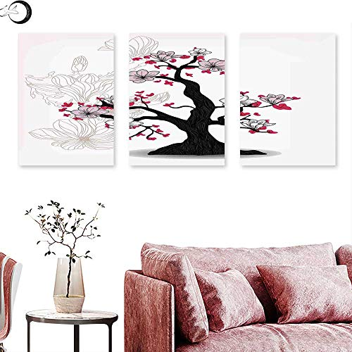 J Chief Sky Nature Wall hangings Magnolia Tree Asian Garden Cultural Traditional Nature Illustration Print Wall Panel Art Black Pink Fuchsia Triptych Art Canvas W 16