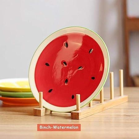 LKOBN Cerámica Plate_Fruit Sandía Diseño Comida Bandeja Plana ...