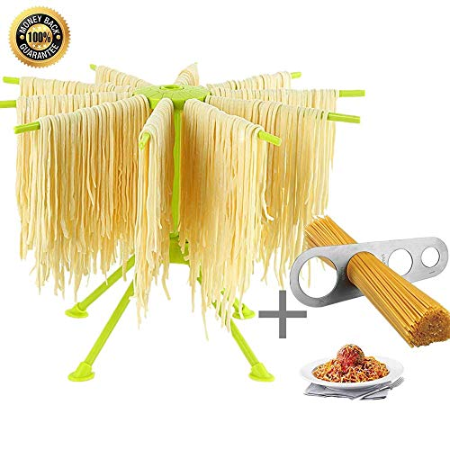 Pasta Drying Rack, with Stainless Steel Pasta Ruler Foldable Pasta Drying Rack, Quick Set-Up, Easy to Cleaning(Green)