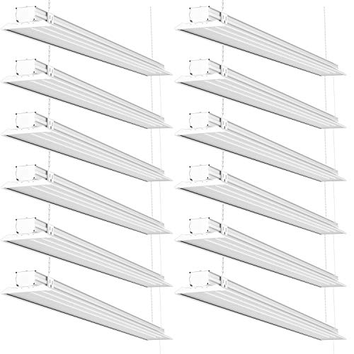 Sunco Lighting 12 Pack Flat LED Shop Light, 4 FT, Linkable Double Integrated LED, 40W=300W, 5000K Daylight, 4500 LM, Clear Lens, Plug in, Suspension Mount, Pull Chain, Garage - ETL, Energy Star