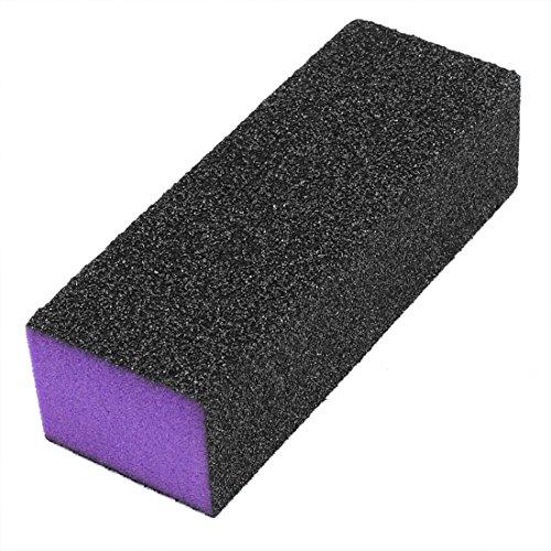 uxcell Nail Polisher 3 Way Buffer Buffing Block Manicure File Black Purple