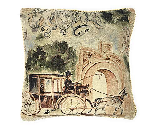 Tache Home Fashion Vintage Old Days Square Woven Tapestry Faux Needlepoint Cushion Throw Pillow Cover, 18x18cm, ()