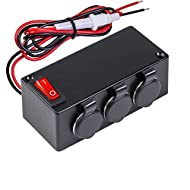 Automotive DC Power Outlet Extension w/On-Off Switch [Heavy Duty] [12V-24V] [15 Amp] [In-Line Fuse] [Hardwire] Car Triple Socket Cigarette Lighter Plug Switch Box