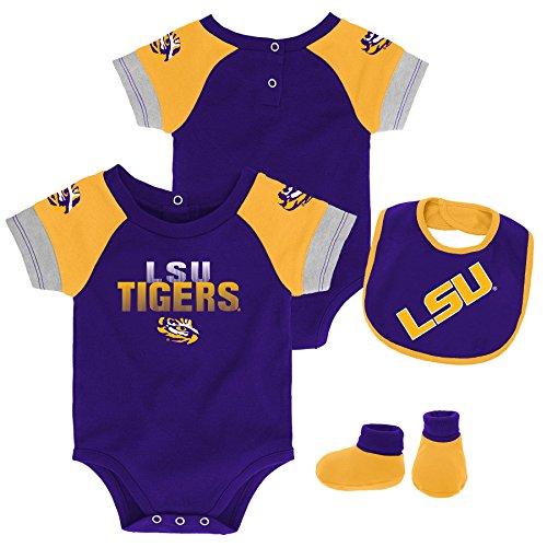 (Gen 2 NCAA LSU Tigers Newborn & Infant 50 Yard Dash Bib & Bootie Set, 3-6 Months, Regal Purple)