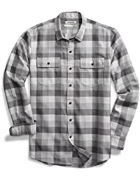 Men's Standard-Fit Long-Sleeve Plaid Herringbone Shirt
