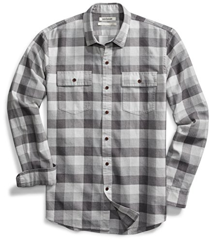 Goodthreads Men's Standard-Fit Long-Sleeve Plaid Herringbone Shirt, Medium Grey Heather, Medium (Best Flannel Shirts For Guys)