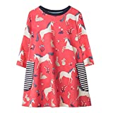 Dan Ching Girls Cotton Long Sleeve Shirt Dress Size 6 Red Unicorn