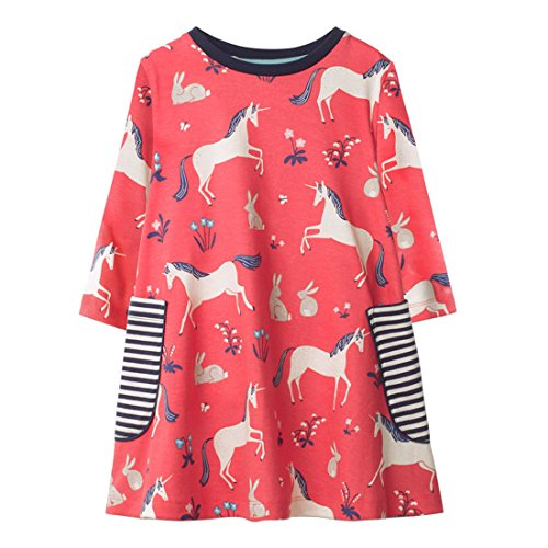 Dan Ching Girls Cotton Long Sleeve Shirt Dress Size 6 Red Unicorn by Dan Ching (Image #1)