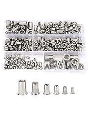 Nicunom 200 Pcs 304 Stainless Steel Metric Rivet Nuts Flat Head Threaded Rivetnut Insert Nutsert Rivet Nut Assortment Kit in M3 M4 M5 M6 M8 M10