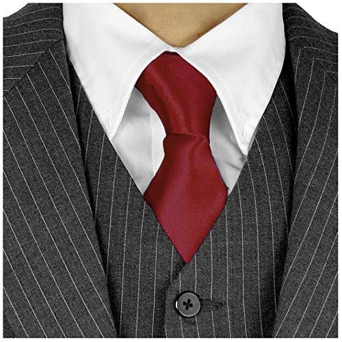 Long Ties For Men 3-in Satin Silk Finish Neck Ties Solid Color - Crimson (Vest Crimson Silk)