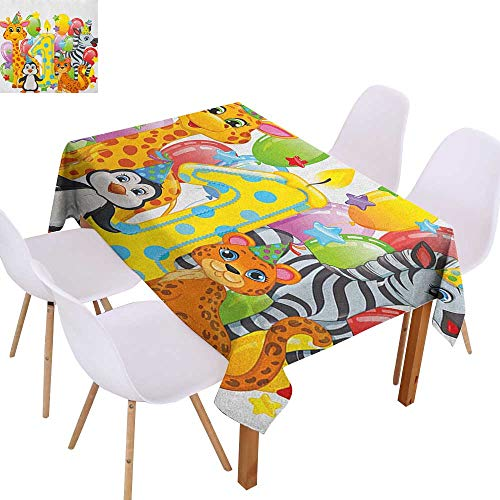 Party Decoration Tablecloth 1st Birthday,Kids Party with Baby Safari Animals Zebra Lion Balloons Backdrop Colorful,Multicolor,for Banquet Decoration Dining Table Cover 60