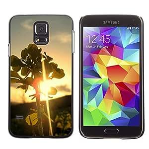 TopCaseStore / la caja del caucho duro de la cubierta de protección de la piel - Nature Leaf Sunset - Samsung Galaxy S5 SM-G900