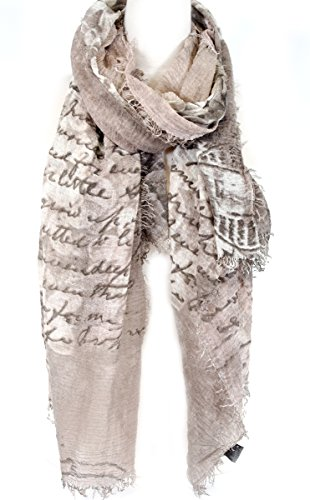 Soft Scarf with fringed edge all around, floral with letters, Viscose scarf, fashion scarf, multi color, beach scarf (Brown Viscose Scarf)