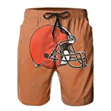 RongerSNAB Cleveland_Browns_Classic_Team_Logo_Mens_Swim_Trunks_Quick_Dry_Water_Beach_Cargo_Water_Shorts_with_Mesh_Lining