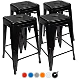 "24"" Counter Height Bar Stools,! (BLACK) by UrbanMod, [Set Of 4] Stackable, Indoor/Outdoor, Kitchen Bar Stools,! 330LB Limit, Metal Bar Stools! Industrial, Galvanized Steel, Counter Stools!"