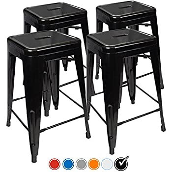 Amazon Com Furmax 24 Metal Stools High Backless Metal
