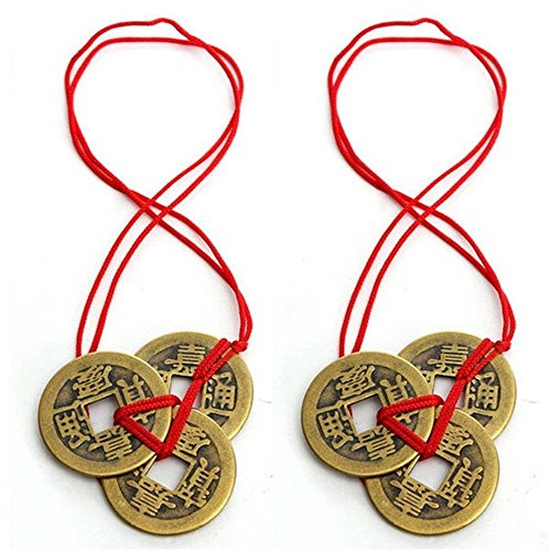 2PC/SET Lucky Coins with Red String,Chinese Feng Shui Coins For Wealth And Lucky,Emperor Amulet Coins ()