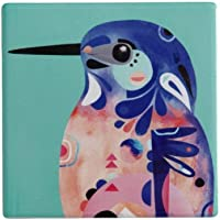 Maxwell & Williams Pete Cromer Azure Kingfisher Ceramic Square Coaster, 9.5 cm Diameter, Assorted