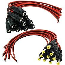aimhd 10pares Male & Female DC Pigtail Conectores de alimentación para CCTV Cámara de vigilancia sistema de video (2.1mm X 5,5mm)