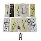Airgoesin 14pcs Key Chain Ring Hang Forcep Mirror Tooth Brush Toothpaste Tray Plier Tool Dental Gift