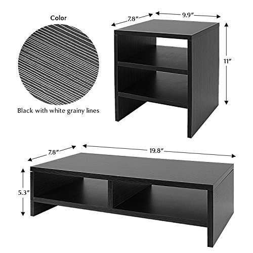 Jerry & Maggie - Wood Monitor Stand - 2 Parts Combination - Modern Dresser Shelf Unit Storage Desk Organizer Computer Stand Shelving - 2 Parts Multi Function Grayish Black Shelving