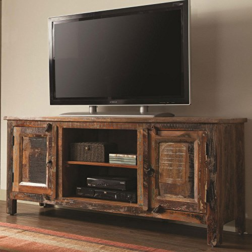 1PerfectChoice India Antique Storage Accent Cabinet TV Stand Rustic Reclaimed Wood Mixture Teak - Teak Tv Cabinet