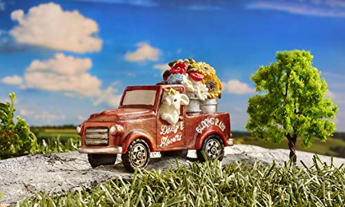 (Giftcraft Fairy Garden Vintage Red Truck with Flower Buckets and Rabbit Miniature Figurine)