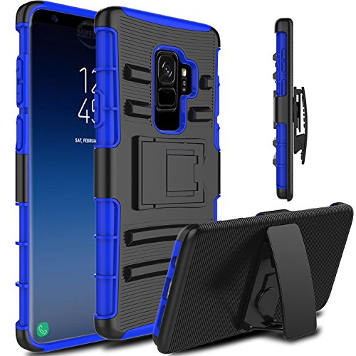 Galaxy S9 Plus Case, Venoro Heavy Duty Shockproof Armor Holster Defender Full Body Rugged Protective Case Cover with Kickstand and Belt Swivel Clip for Samsung Galaxy S9+ / SM-G965U (Dark Blue)