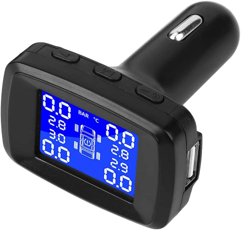 Monitor LCD para Encendedor de Cigarrillos con 4 sensores externos EVGATSAUTO Monitor de presi/ón de neum/áticos Sistema de Control de presi/ón de neum/áticos de Coche