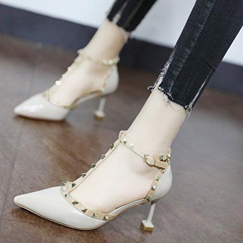Xue de Beige con de de Zapatos luz alta de Corte y versátil y Heel remaches zapato la un pintada T Punta cuero elegante Qiqi solo la fino Shoes qr1np7q